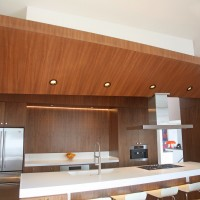 wood 'wing' above kitchen island